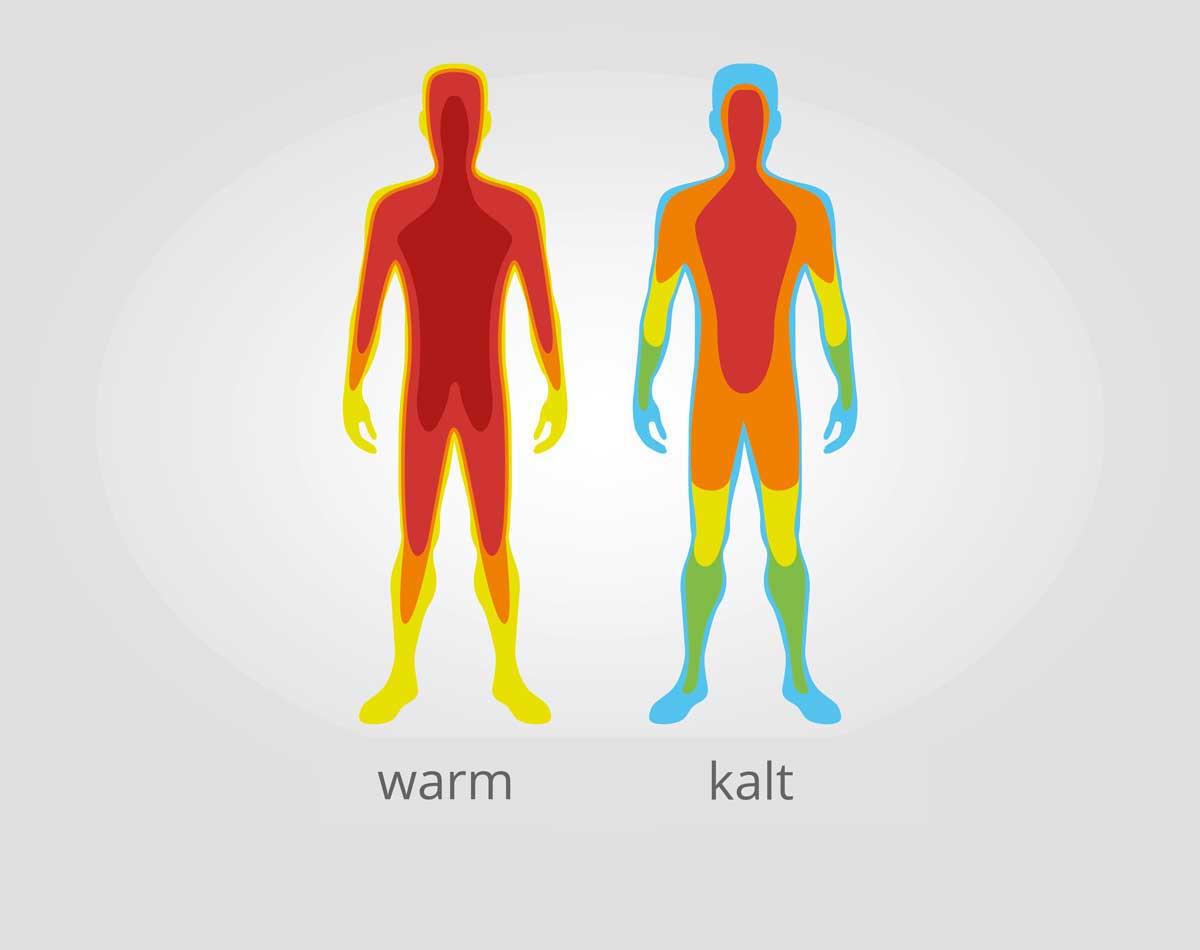 Temperaturanpassung des menschlichen Körpers